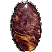 Native American Navajo Sterling Purple Yellow Spiny Oyster Ring