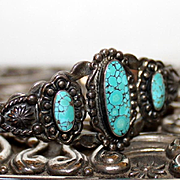 Native American Sterling Spider Web Turquoise Cuff