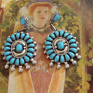 Native American Zuni Sleeping Beauty Turquoise Earrings