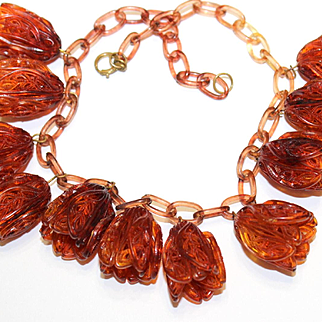 1920's-1930's Celluloid Tulip Necklace