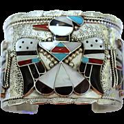 Native American Zuni Thunderbird Sterling Bracelet