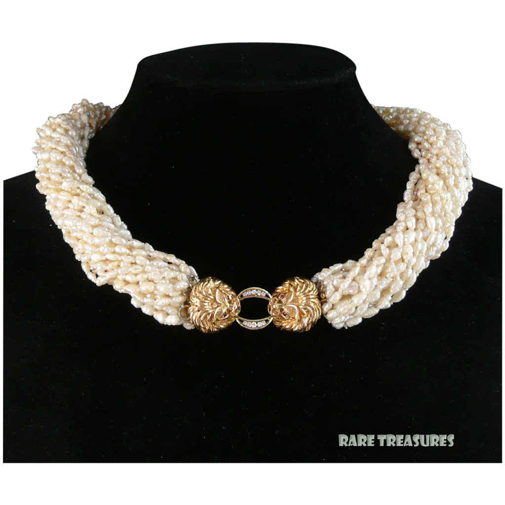 14k Diamond And Ruby Double Lion Head Clasp With 25 Strand Cultured Rice Pearl  Necklace