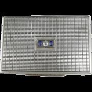 Art Deco Diamond and Sapphire 800 Silver Powder Compact