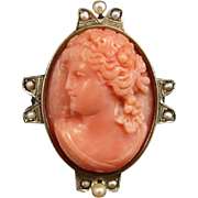 Victorian 14K Gold and Salmon Coral High Relief Cameo