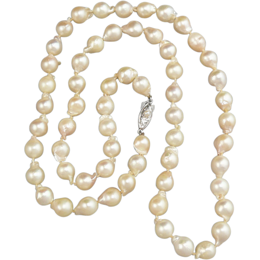 deep luster south sea baroque cultured pearl necklace 28 sold on ruby lane. Black Bedroom Furniture Sets. Home Design Ideas