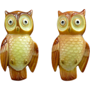 Toshikane Porcelain Owl Earrings in Sterling