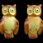 Toshikane Porcelain Owl Earrings in Sterling
