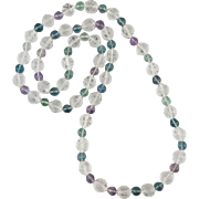 Chinese Carved Rock Crystal Shou Bead and Rainbow Fluorite Necklace 32""
