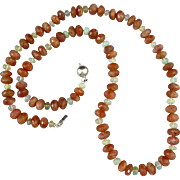 Sparkling Sunstone and Opal Necklace 23""