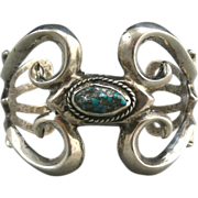 Navajo Sterling Sandcast Cuff Style Bracelet with Turquoise