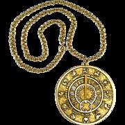 Tortolani Zodiac Sundial Necklace c1970