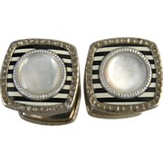 Vintage Snap Link Cufflinks With Enamel and Mother of Pearl