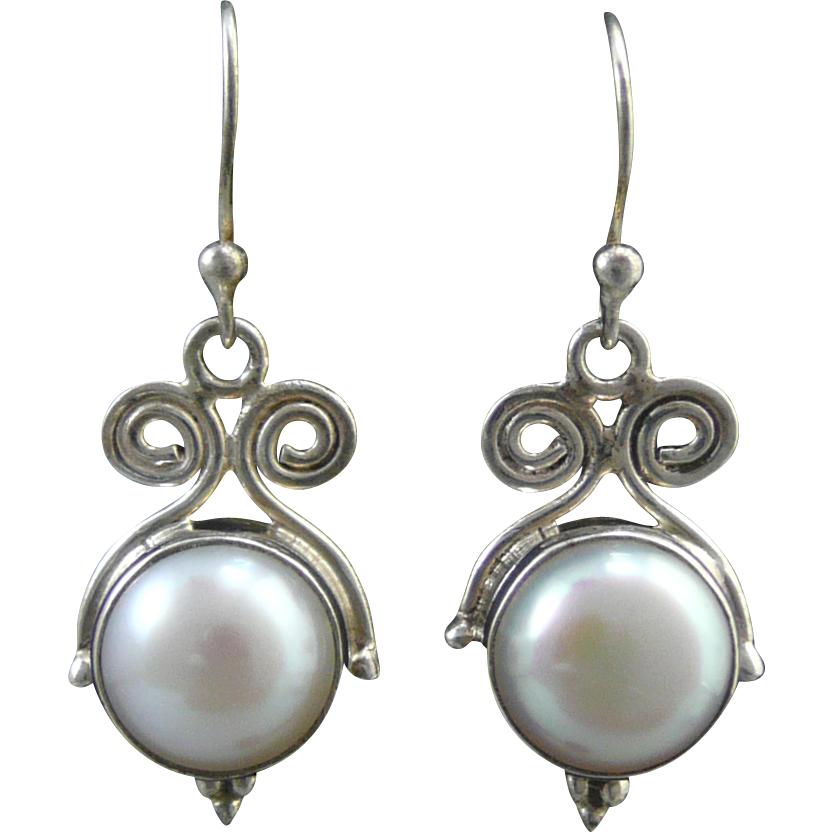 mabe pearl and sterling silver dangle earrings sold on