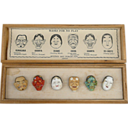 Kojima (Toshikane) Noh Mask Porcalain Button Set c1950