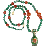 Chinese Cloisonne Bottle with Malachite and Carnelian Necklace 27""