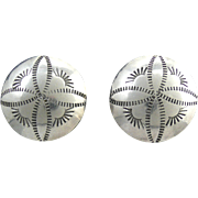 Vintage Hand Chased Sterling Concho Earrings