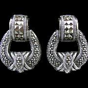 Vintage Judith Jack Sterling and Marcasite Door Knocker Earrings