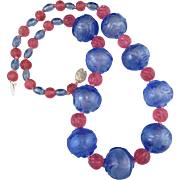 Carved Peking Overlay Glass Bead Necklace 25""