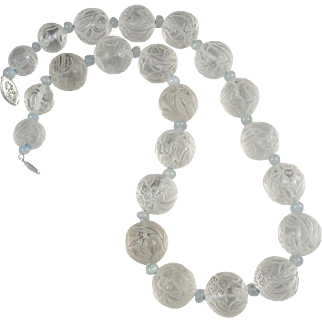 """Exceptional Carved Rock Crystal and Aquamarine Bead Necklace 22"""""""