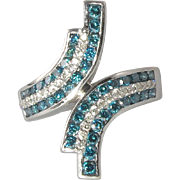 1.75ctw Blue and White Diamond Bypass Style Ring