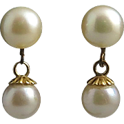 14K Double Cultured Pearl Dangle Earrings Mid Century