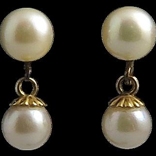 14K Double Cultured Pearl Dangle Earrings Mid Century
