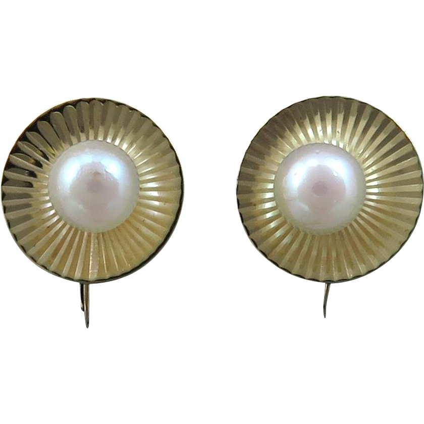 14K and Cultured Pearl Earrings