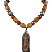 Carved Bead and Carnelian, Silver Asian Tibetan Ga Wu Necklace 23""