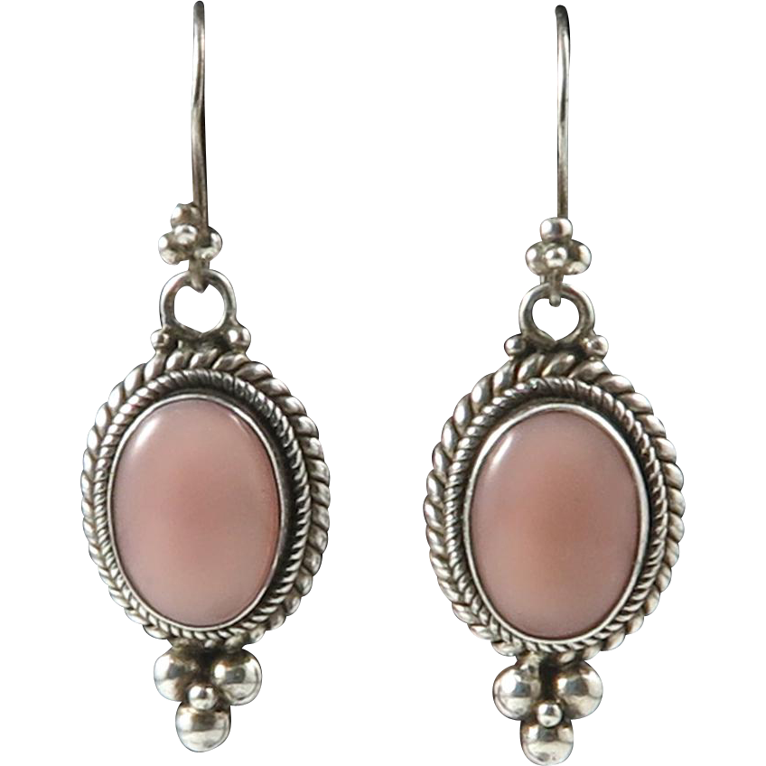 sterling and pink shell dangle earrings sold on ruby