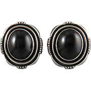 Signed Sterling and Black Onyx Earrings