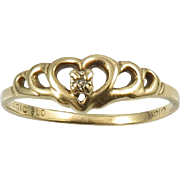 10K Gold and Diamond Heart Promise Ring