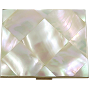 1940s Mother of Pearl Compact in Original Box with Inserts Elgin American