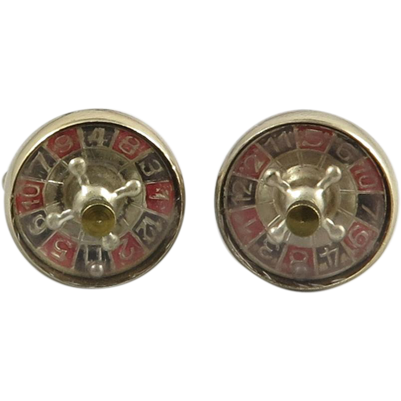 classic working roulette wheel cufflinks sold on ruby lane. Black Bedroom Furniture Sets. Home Design Ideas