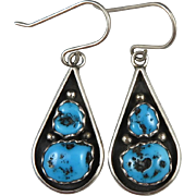 Turquoise and Sterling Teardrop Dangle Earrings
