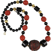 Chinese Cinnabar and Onyx Necklace 25""