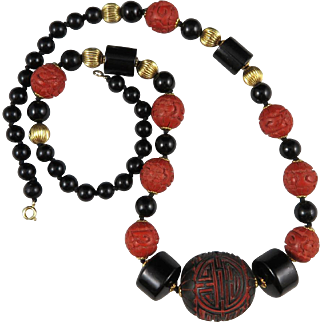 """Chinese Cinnabar and Onyx Necklace 25"""""""