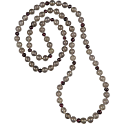Gray Chalcedony and Garnet Necklace 33""