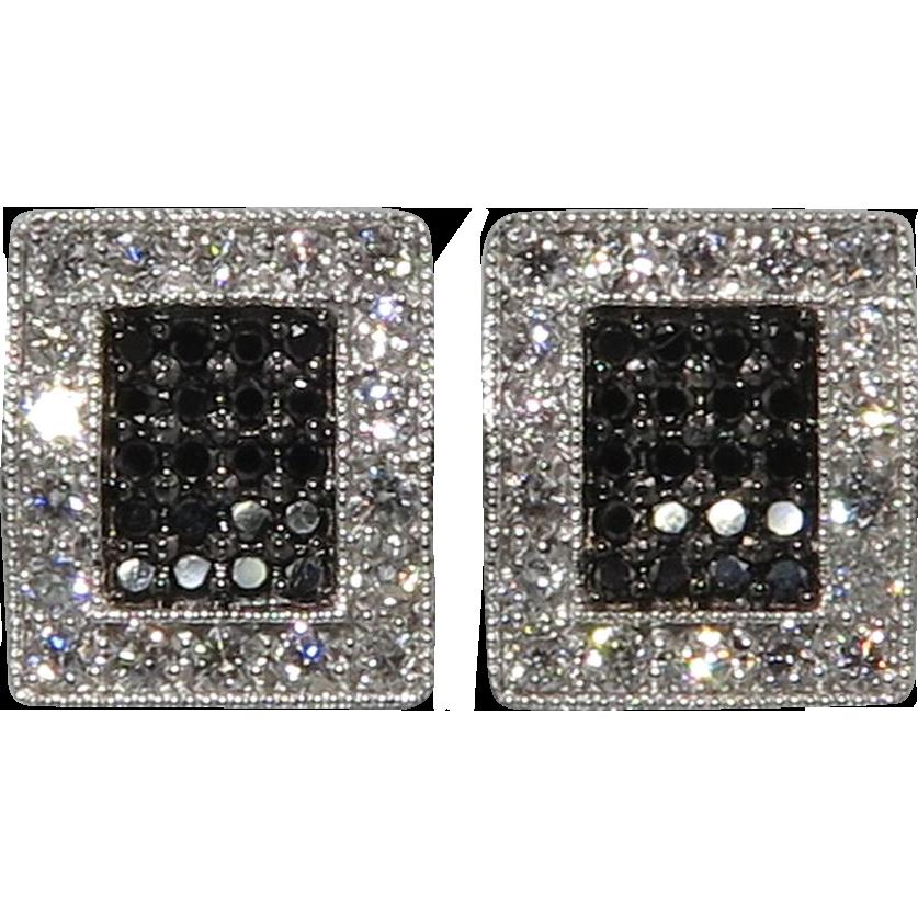 .75tcw 18K White and Black Diamond Earrings