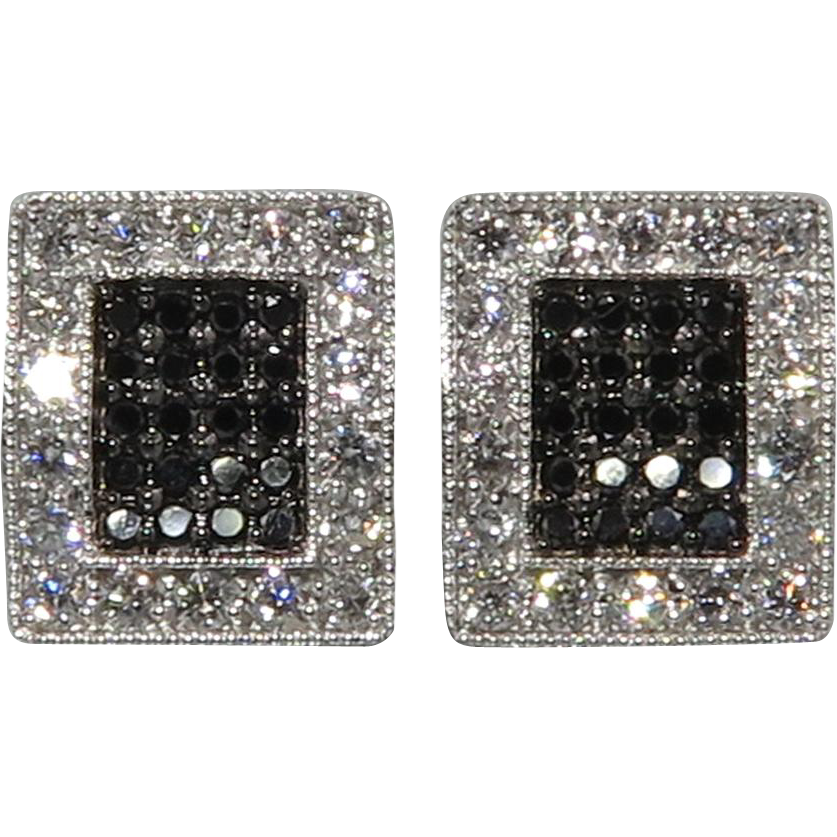 .75tcw 18K White and Black Diamond Earrings