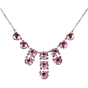 Antique Edwardian Fuchsia Pink Paste and Sterling Silver Festoon Necklace