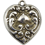 Vintage Two Sided Repousse Sterling Heart Charm