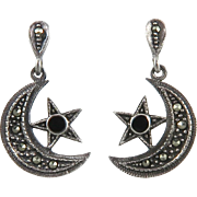 Moon and Stars Marcasite Sterling Dangle Earrings