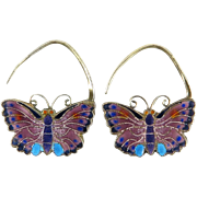 Chinese Enamel on Silver Butterfly Earrings