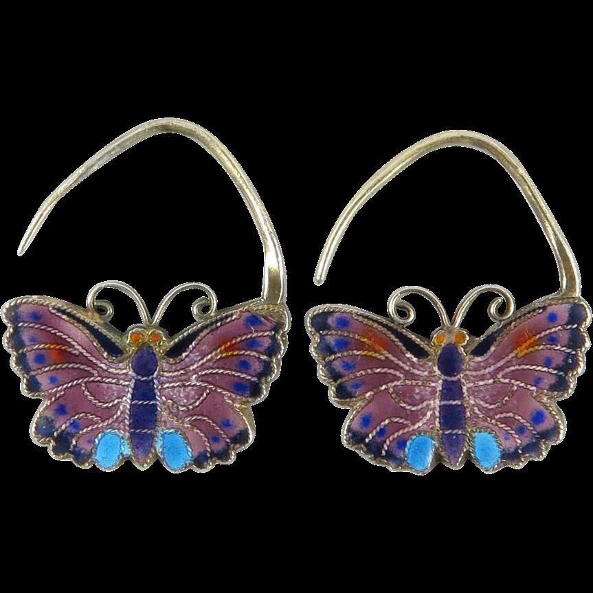 Chinese Enamel on Silver Asian Butterfly Earrings