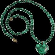 "Malachite Heart Necklace 22"""