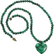 Malachite Heart Necklace 22""