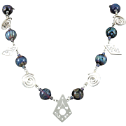 Lampwork Glass and Sterling Silver Charm Necklace 28""