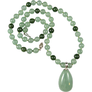 Green Jade and Aventurine Pendant Necklace 22""