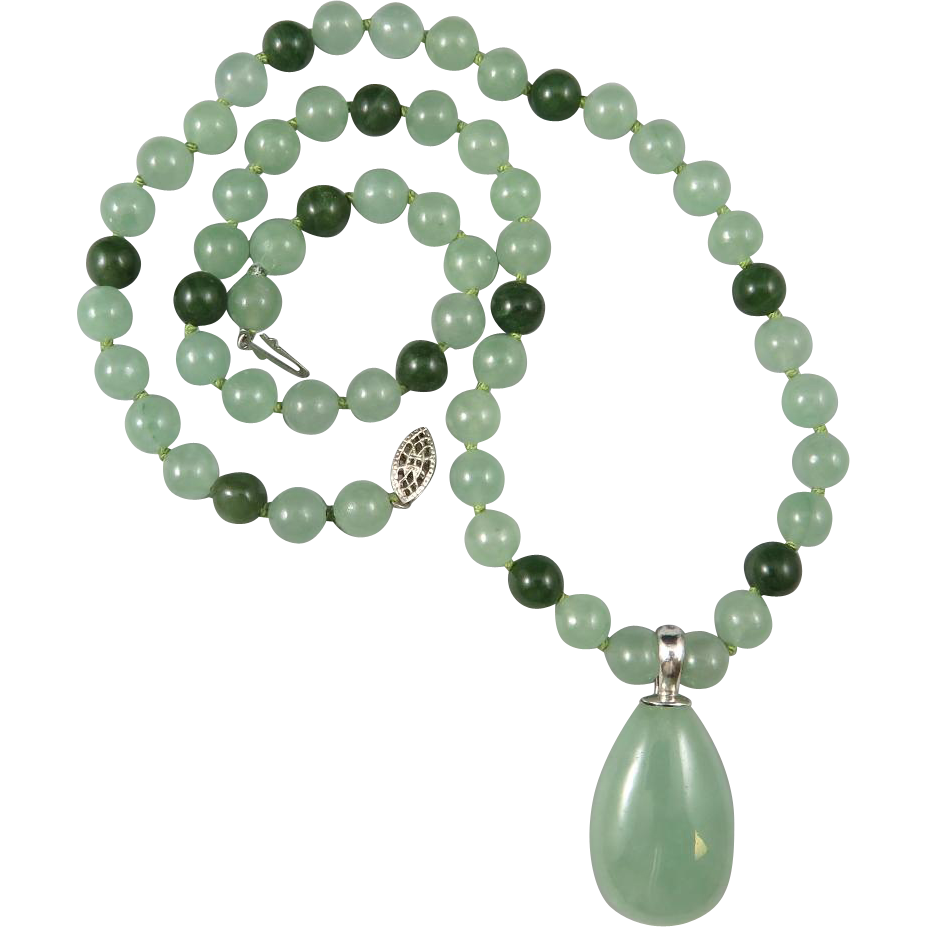 green jade and aventurine pendant necklace 22 quot from