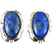 Navajo Sterling and Lapis Earrings Signed